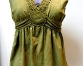 Blouse - Vintage Upcycled Custom Dyed Tie Back Sleeveless Cotton With Crocheted detail Around Neck and Slight Empire Waist