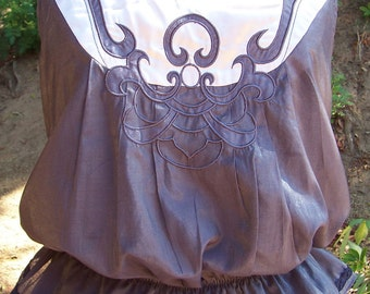 Upcycled Top -  Steampunk Upcycled Gray Blouse Embellished with Satin Applique and Jewelry Detail at the Bustle back Peplum with Blouson
