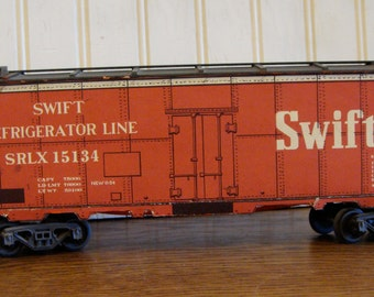 Vintage Red And Black Boxcar Wooden Train Cardboard Lithographed Swift Refrigerator Line