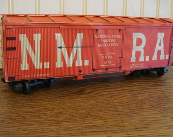 VintageRed Boxcar Wooden Train Cardboard Lithographed 1979