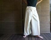 Shipping from NYC - WHITE thai fisherman pants - yoga wrap pants - massage pants - maternity pants - one size fit all unisex sleepwear