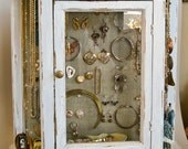 Jewelry Cabinet Jewelry Armoire 20 x 22 Hand Painted White and Shabbily Aged and Distressed by OlliesFineThings