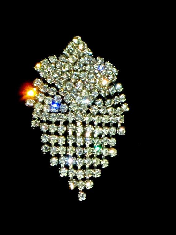 Rhinestone Pin Wedding Brooch Black Tie Formal Art Deco Style by Celebrity NY