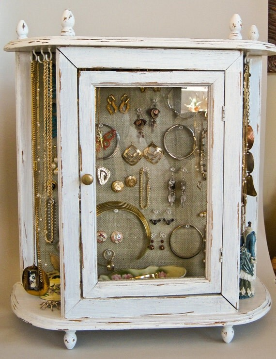 Jewelry Cabinet Jewelry Amoire 20 x 22 Handpainted White and Shabby