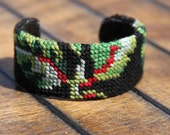Mireille cuff - upcycled french needlepoint vintage tapestry hand embroidered - eco friendly - black green red