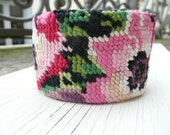 Fabiola cuff - eco friendly french needlepoint tapestry hand embroidered - upcycled vintage - pink red green black