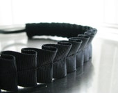 Slip-not headband, pleated black or brown