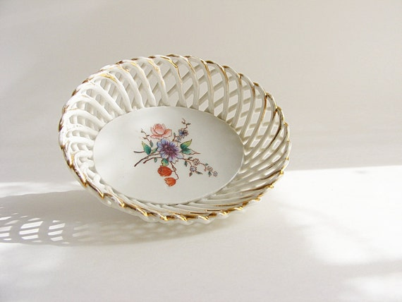 Vintage Trinket Tray, Shabby Chic China Bowl,  Vanity Dish, Colorful Floral Design,