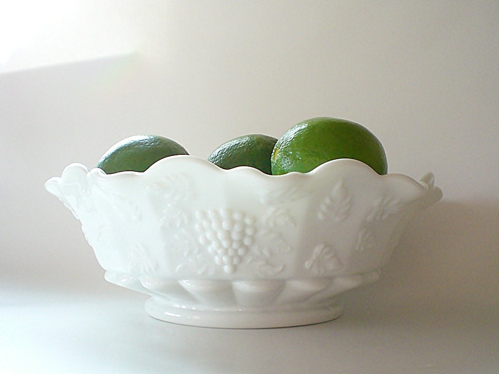 Vintage Milk Glass Fruit Bowl White Centerpiece By Vintagebiffann