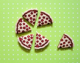Pizza Cabochons 6pc