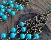 long turquoise earrings....wire- wrapped beads...chandelier..dainty ....cowgirl...shabby chic