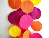 Felt Garland: Pink, Orange, and Yellow Circles 8 ft.