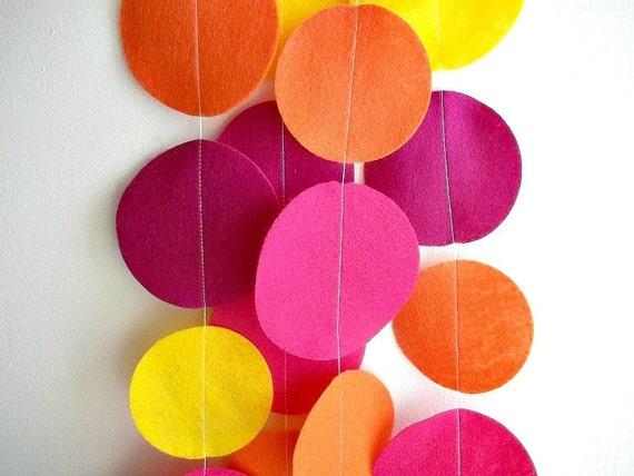 Felt Garland: Pink, Orange, and Yellow Circles 8 ft.