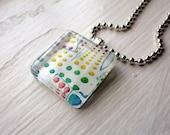 Button Candy Necklace, Glass Tile Pendant Necklace, Wearable Watercolor Art