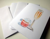 Champagne and Cupcake Notecards, Watercolor Art Blank Cards, Set of 8