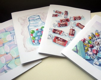 Candy Card Set - Watercolor Art Notecards (Ed. 3), Set of 4 - Tootsie Rolls, Taffy, Gumballs, Marshmallows