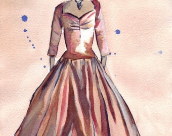 Fashion Watercolor Painting - Bronze Vintage Dress Watercolor Art Print, 11x14