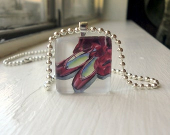 Jewelry Pendant Red Ballet Shoes Necklace, Glass Tile Pendant Necklace, Wearable Watercolor Art