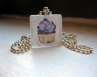 Cupcake Pendant - Purple Cupcake Necklace Glass Tile Pendant Art