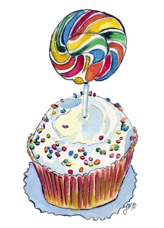 Watercolor Painting Illustration- Lollipop Cupcake Art - Watercolor Art Print, 5x7