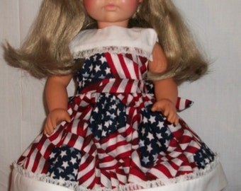 """Patriotic and White Dress for 18"""" Doll"""