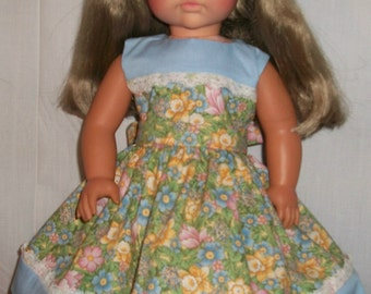 "Pale Blue and Floral Dress for 18"" Doll"