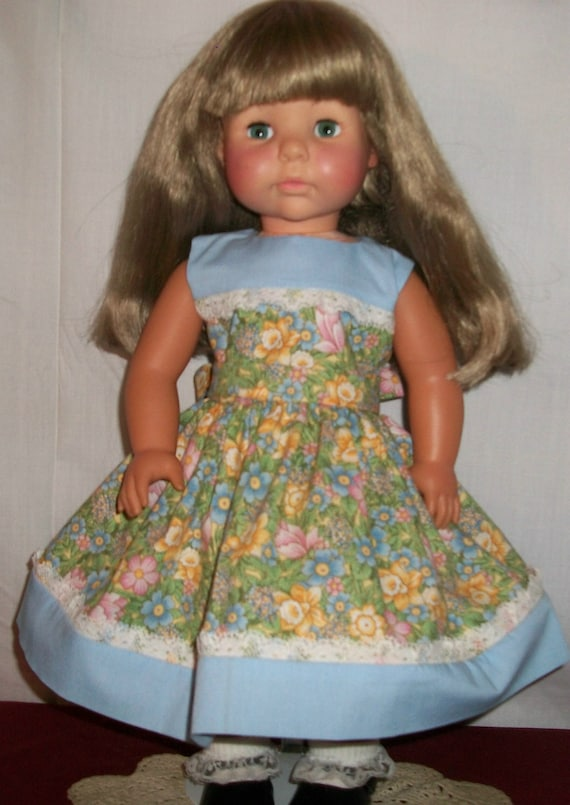"""Pale Blue and Floral Dress for 18"""" Doll"""