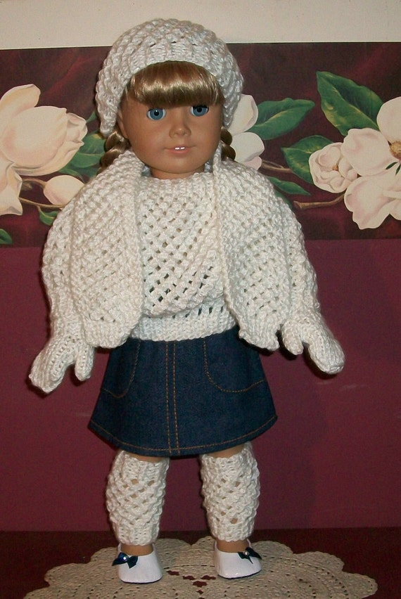 American Girl Doll Clothes 6 Pc. Sweater and Denium Skirt Set with Accessories