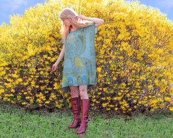 Bohemian Hippie Dress Gypsy Kaftan Fringe Ethnic Indian Boho Style One Size Green Blue Lightweight Silk & Cashmere