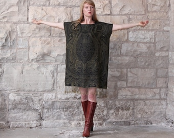 Silk & Cashmere Gypsy Kaftan Dress with Fringe Ethnic Boho Black and Gold One Size S M L XL