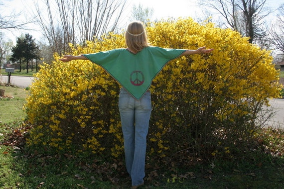 Peace Love and Kitty Cat HIPPIE Capelet Top Upcycled Vintage Linen