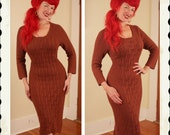 Bombshell 1950's Hourglass Cable-Knit Knitted Curve Hugging Cocoa Brown Sweater Dress - Bad Girl - VLV - Mad Men - Rare Plus Size XL to XXXL