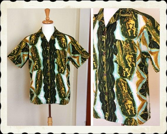 EXOTIC Early 1960's Polished Cotton Hawaiian Shirt w Vibrant Tiki Idol God Print by Liberty House of Hawaii - Tiki Oasis - VLV - Size Mens L