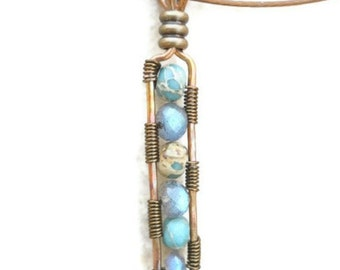 Labradorite Pendant Necklace Wire Wrapped Jewelry with Magnetic Clasp and Cable Neckwire