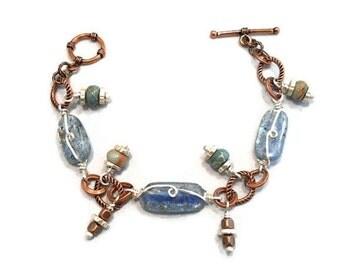 Stone Jewelry Copper Silver Bracelet Wire Wrapped Mixed Metal Kyanite Peruvian Opal