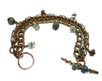 Multi Chain Bracelet Wire Wrapped Jewelry Bohemian Style Natural Stone Aquamarine Antiqued Brass