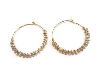 Wire Weave Jewelry Hoop Earrings Coiled Hoops Woven Wire Wrapped Gold and Silver Hoop
