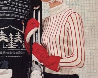 PATTERN 1950s Vintage Ladies Striped Ski Sweater with Cap Turtle Neck Sweater Chin Strap Hat