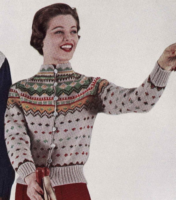 PATTERN Vintage Ski Lodge Button Down Cardigan Sweater to Knit