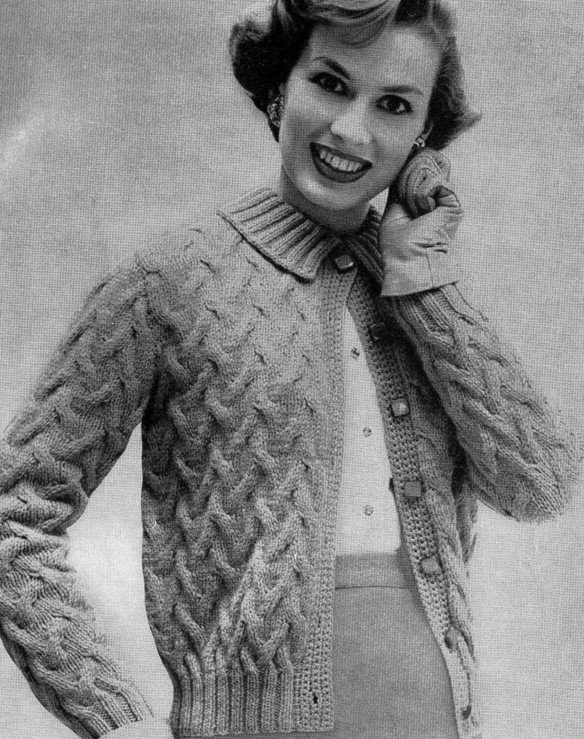 PATTERN 1950s Vintage Cable Knit Ladies Cardigan Sweater