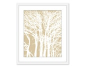 Modern Trees Art Print - Tree Branches - Tan Beige and White - Home Decor - Woodland