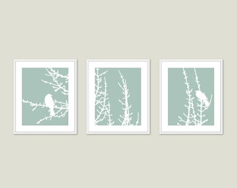 Birds and Branches Digital Print Set - Green Seafoam Pastel - Rustic Modern Woodland Home Decor