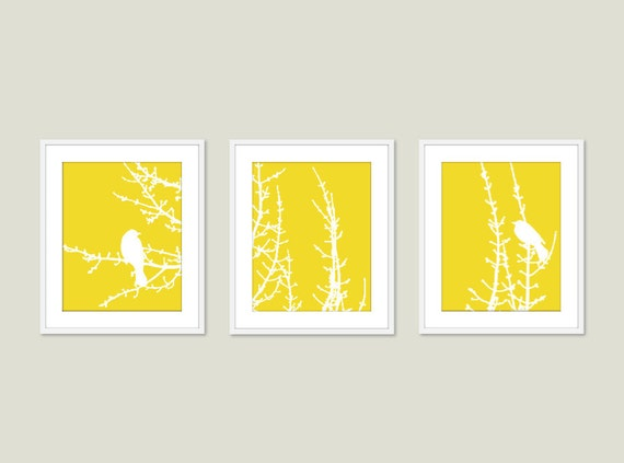 Modern Birds on Branches Art Prints - Birds Wall Art - Set of 3 - Yellow And White - Modern Bird Art - Home Decor - Birds on Tree Twigs