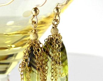 LP 760  Bi Lemon Quartz And Gold Chain Earrings