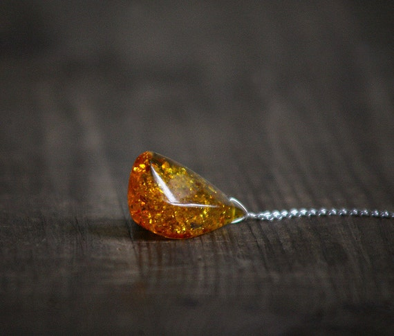 Baltic Amber Sparkly yellow Orange Pendant on chain