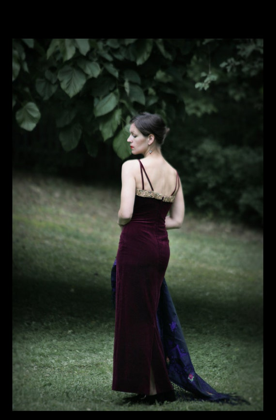 Oxblood red purple Velvet Gothic dress with Gold embroidery