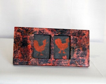 Framed rooster print  --  upcycle wood frame red and black handcrafted