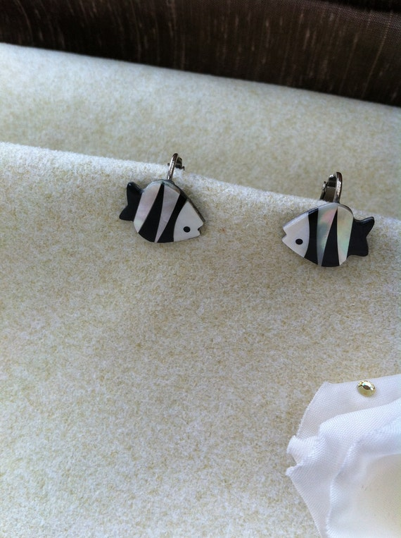 Vintage Earrings Mother of Pearl Fish Earrings