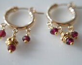 Ruby Red Garnet Gold Hoop Earrings