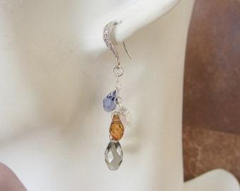 Swarovski Crystal Briolette Dangle Earrings in Tanzanite, Crystal Copper and Greige